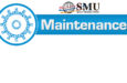 SMU logo with blue gear graphic that says maintenance