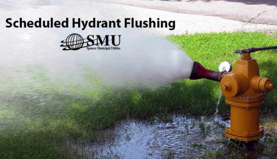 Picture of fire hydrant being flushed with text that says Scheduled Hydrant Flushing and SMU logo